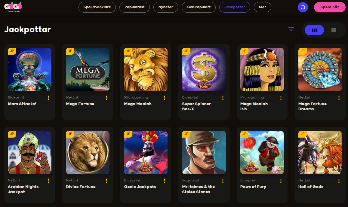 Slots med jackpott i GoGo casino